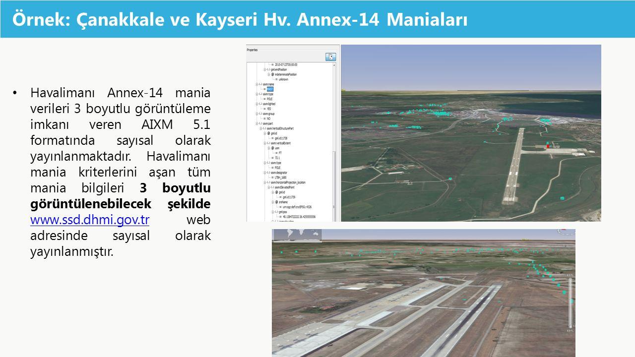 Örnek: Çanakkale ve Kayseri Hv. Annex-14 Maniaları Havalimanı Annex-14 mania verileri 3 boyutlu görüntüleme imkanı veren AIXM 5.1 formatında sayısal o