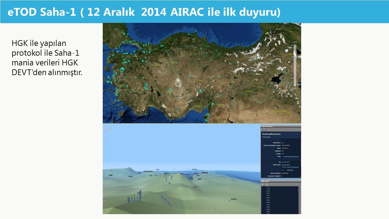 eTOD Saha-1 ( 12 Aralık 2014 AIRAC ile ilk duyuru) HGK ile yapılan protokol ile Saha-1 mania verileri HGK DEVT'den alınmıştır.