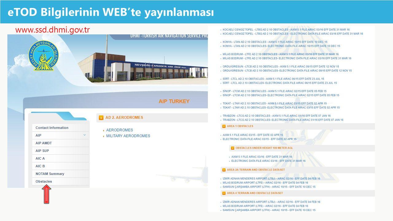 eTOD Bilgilerinin WEB'te yayınlanması www.ssd.dhmi.gov.tr