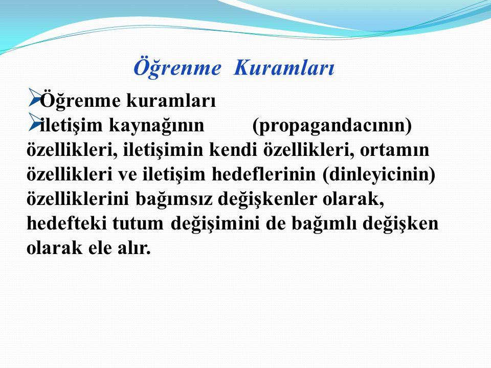 Bu Kuramlar ; 1.Öğrenme Kuramları 2.Sosyal Yargı Kuramı 3.Tutarlılık Kuramları 4.İşlevsel Kuramlar Tutumlara, özellikle tutum değişimi so- rununa eğilen çeşitli araştırmalar dört farklı kuramsal yaklaşım kullanmışlardır.