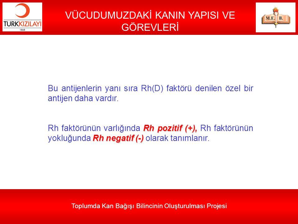 Toplumda Kan Bağışı Bilincinin Oluşturulması Projesi VÜCUDUMUZDAKİ KANIN YAPISI VE GÖREVLERİ Bu antijenlerin yanı sıra Rh(D) faktörü denilen özel bir