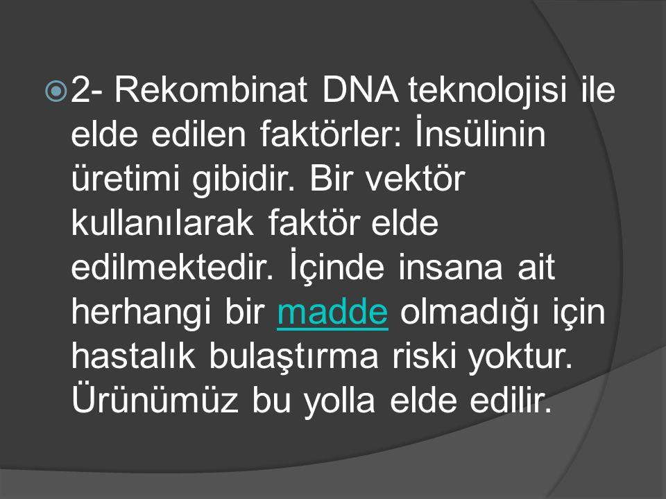  2- Rekombinat DNA teknolojisi ile elde edilen faktörler: İnsülinin üretimi gibidir. Bir vektör kullanılarak faktör elde edilmektedir. İçinde insana