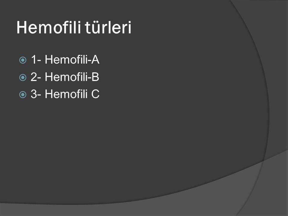 Hemofili türleri  1- Hemofili-A  2- Hemofili-B  3- Hemofili C
