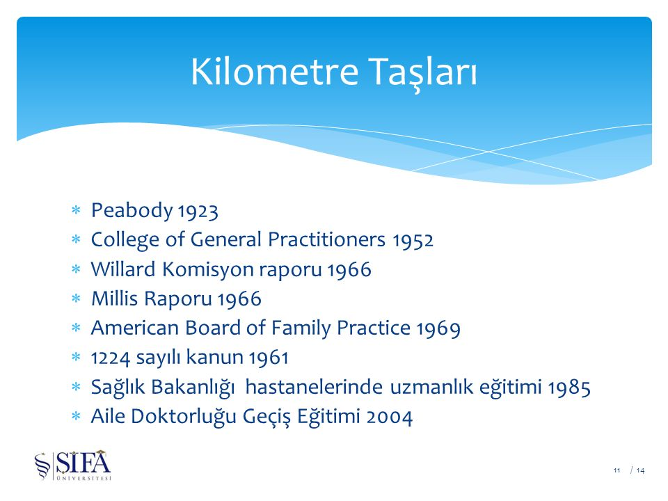  Peabody 1923  College of General Practitioners 1952  Willard Komisyon raporu 1966  Millis Raporu 1966  American Board of Family Practice 1969  1224 sayılı kanun 1961  Sağlık Bakanlığı hastanelerinde uzmanlık eğitimi 1985  Aile Doktorluğu Geçiş Eğitimi 2004 / 1411 Kilometre Taşları