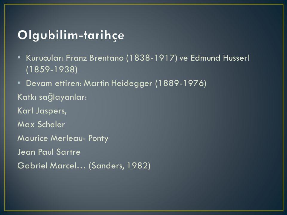 Kurucular: Franz Brentano (1838-1917) ve Edmund Husserl (1859-1938) Devam ettiren: Martin Heidegger (1889-1976) Katkı sa ğ layanlar: Karl Jaspers, Max Scheler Maurice Merleau- Ponty Jean Paul Sartre Gabriel Marcel… (Sanders, 1982)