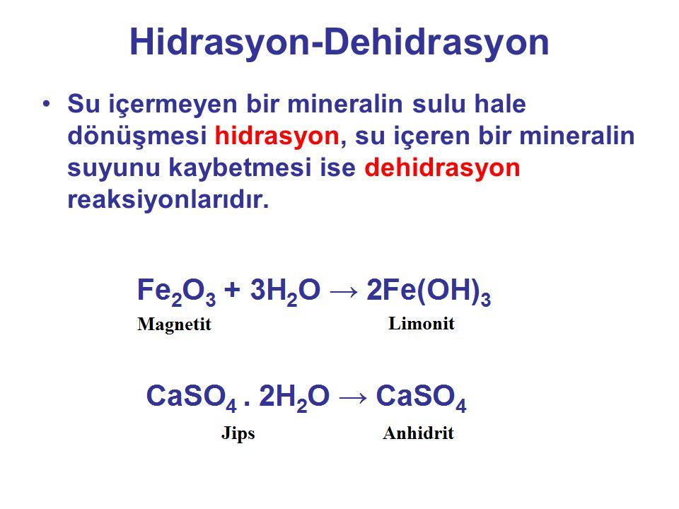 Hidrasyon-Dehidrasyon Su içermeyen bir mineralin sulu hale dönüşmesi hidrasyon, su içeren bir mineralin suyunu kaybetmesi ise dehidrasyon reaksiyonlarıdır.