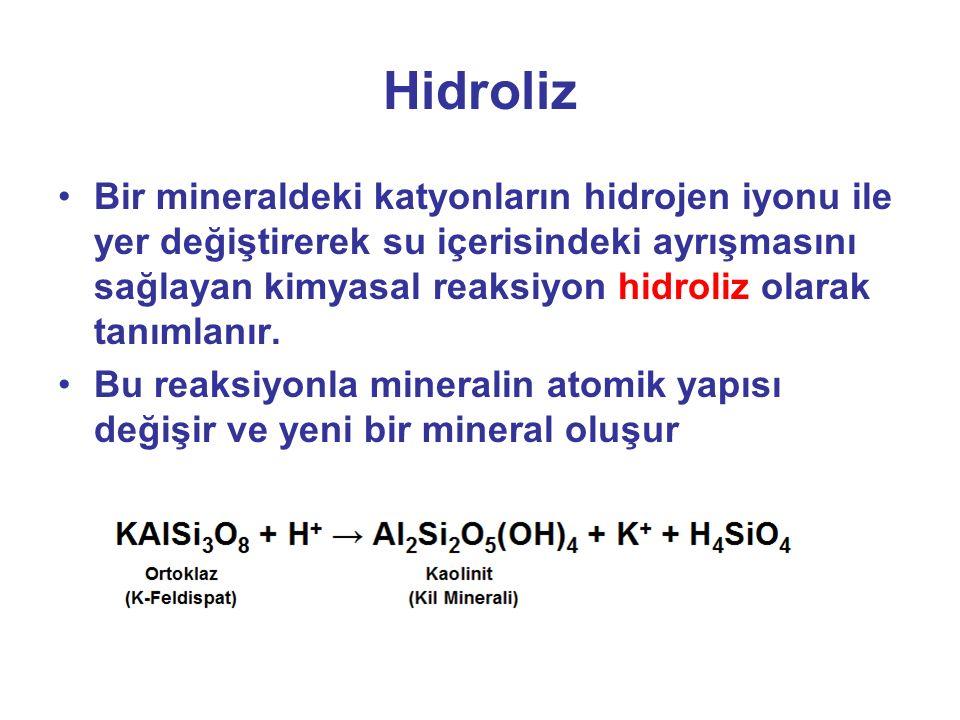 Hidroliz Bir mineraldeki katyonların hidrojen iyonu ile yer değiştirerek su içerisindeki ayrışmasını sağlayan kimyasal reaksiyon hidroliz olarak tanımlanır.