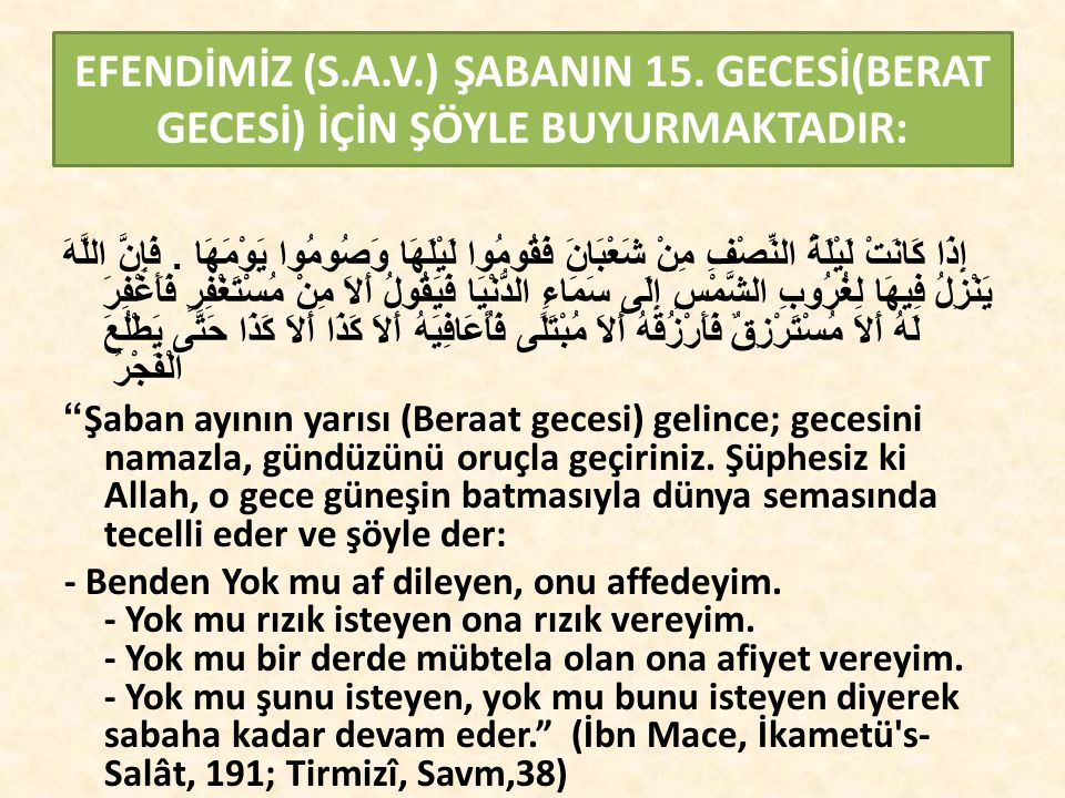 EFENDİMİZ (S.A.V.) ŞABANIN 15.