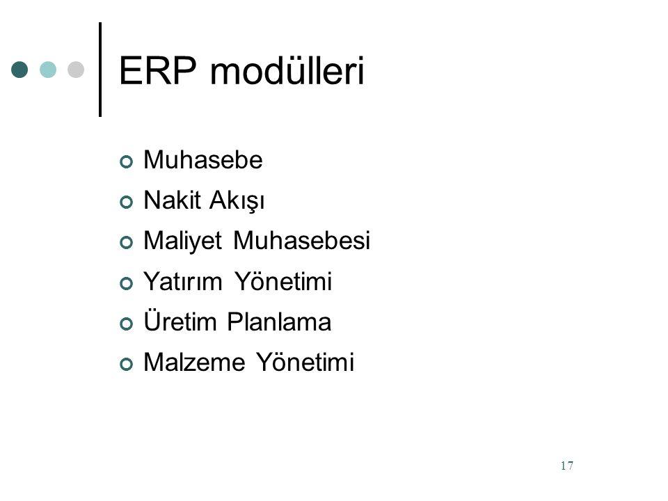ERP yazılımı seçerken dikkate alınması gerekenler Esneklik: Değişik veritabanı ve platformlarda çalışabilmeli Moduler & Açık : Diğer sistemlere açık olmalı Karmaşık: Değişik organizasyonel yapılara cevap verebilmeli Kurum dışındaki sistemlere de açık olmalı Benzetim: Bilgisayar üzerinde iş süreçleri benzetimi yapabilmeli 16