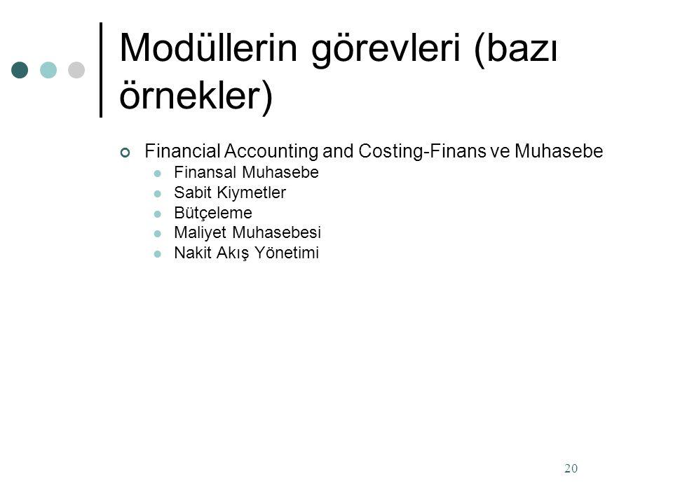 Modüllerin görevleri (bazı örnekler) Müşteri ilişkileri yönetimi Satış İhracat Takibi Satınalma (Tedarik ) Satınalma Fatura Kontrol İthalat Takibi Transfer Siparişleri Envanter Yönetimi Kalite Kontrol Ambar Yönetimi Malzeme İhtiyaç Planlanması Üretim Planlaması ve Kontrol Kapasite Planlaması Üretim Maliyetlendirme 19