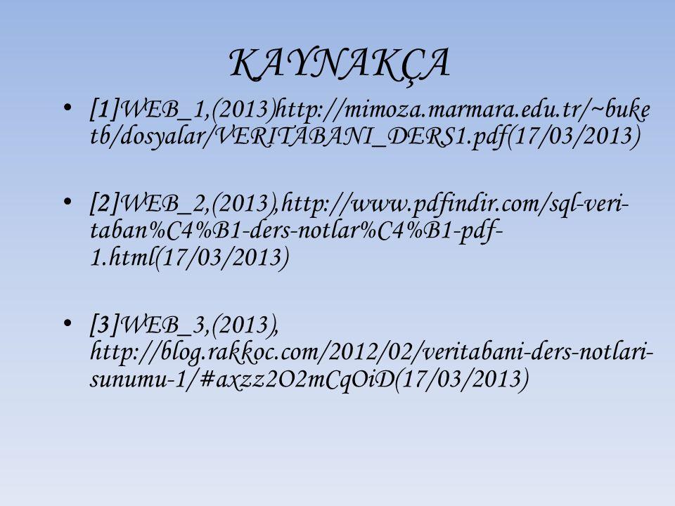 KAYNAKÇA [1]WEB_1,(2013)http://mimoza.marmara.edu.tr/~buke tb/dosyalar/VERITABANI_DERS1.pdf(17/03/2013) [2]WEB_2,(2013),http://www.pdfindir.com/sql-veri- taban%C4%B1-ders-notlar%C4%B1-pdf- 1.html(17/03/2013) [3]WEB_3,(2013), http://blog.rakkoc.com/2012/02/veritabani-ders-notlari- sunumu-1/#axzz2O2mCqOiD(17/03/2013)