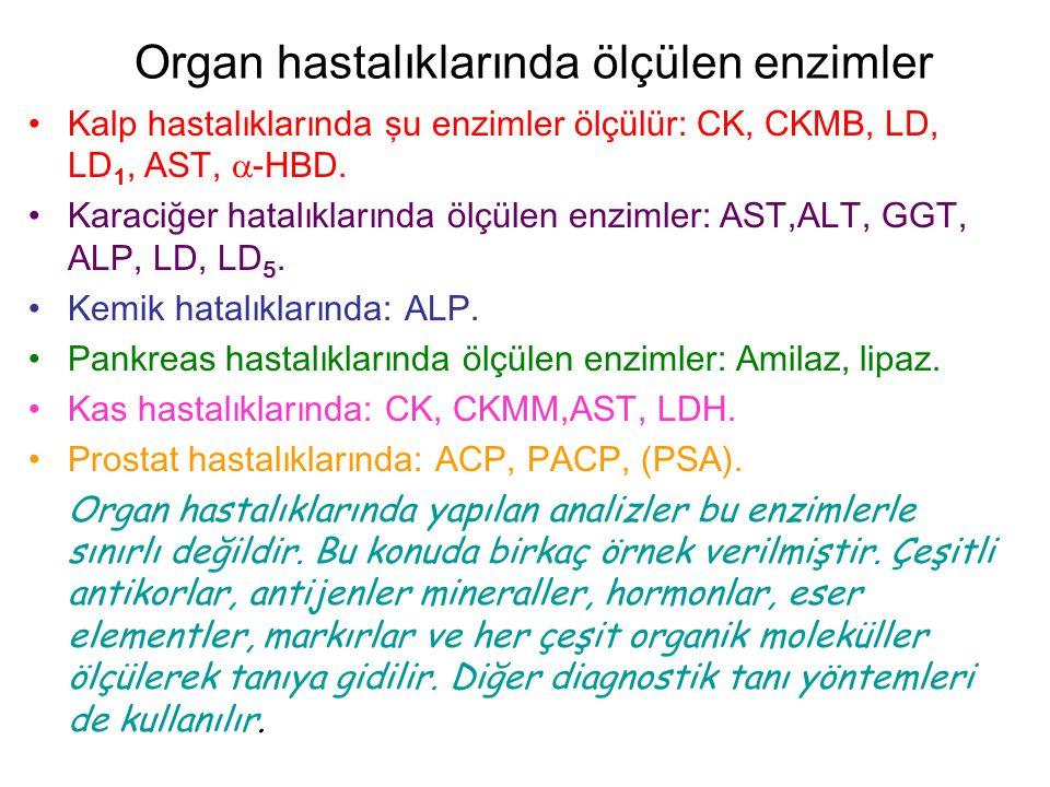 Organ hastalıklarında ölçülen enzimler Kalp hastalıklarında şu enzimler ölçülür: CK, CKMB, LD, LD 1, AST,  -HBD.