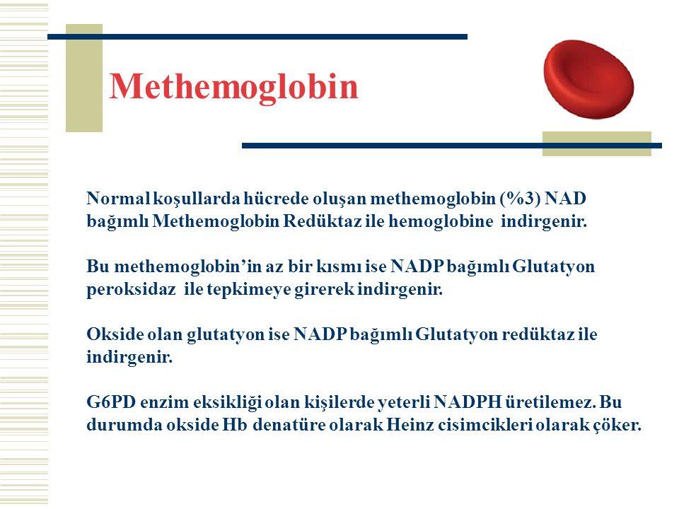 Methemoglobin Normal koşullarda hücrede oluşan methemoglobin (%3) NAD bağımlı Methemoglobin Redüktaz ile hemoglobine indirgenir.