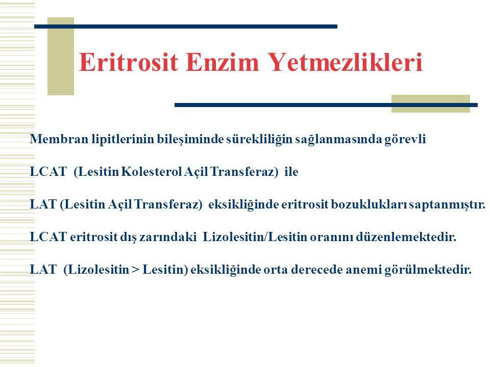 Eritrosit Enzim Yetmezlikleri Membran lipitlerinin bileşiminde sürekliliğin sağlanmasında görevli LCAT (Lesitin Kolesterol Açil Transferaz) ile LAT (Lesitin Açil Transferaz) eksikliğinde eritrosit bozuklukları saptanmıştır.