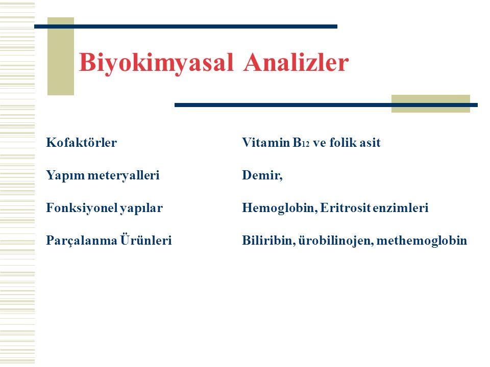 Biyokimyasal Analizler KofaktörlerVitamin B 12 ve folik asit Yapım meteryalleriDemir, Fonksiyonel yapılarHemoglobin, Eritrosit enzimleri Parçalanma ÜrünleriBiliribin, ürobilinojen, methemoglobin