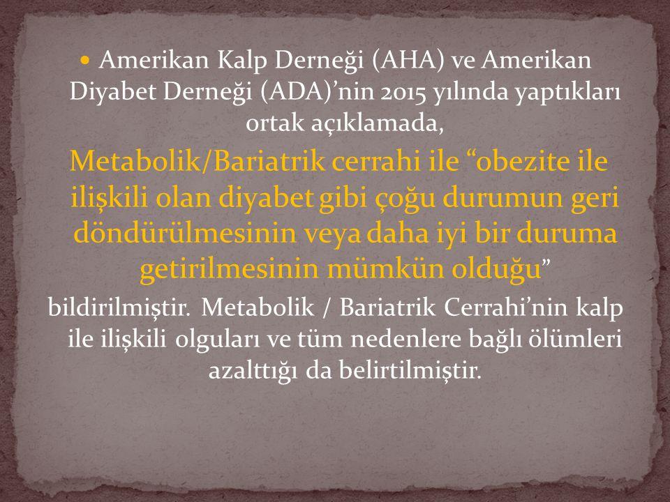 Amerikan Kalp Derneği (AHA) ve Amerikan Diyabet Derneği (ADA)'nin 2015 yılında yaptıkları ortak açıklamada, Metabolik/Bariatrik cerrahi ile obezite ile ilişkili olan diyabet gibi çoğu durumun geri döndürülmesinin veya daha iyi bir duruma getirilmesinin mümkün olduğu bildirilmiştir.
