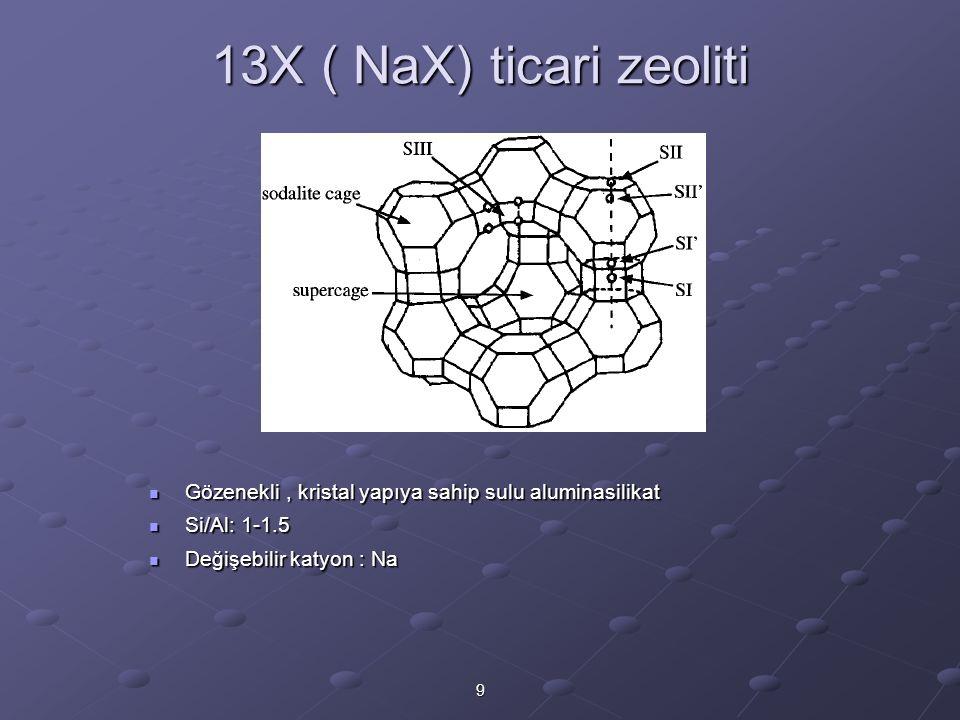 9 13X ( NaX) ticari zeoliti Gözenekli, kristal yapıya sahip sulu aluminasilikat Gözenekli, kristal yapıya sahip sulu aluminasilikat Si/Al: 1-1.5 Si/Al: 1-1.5 Değişebilir katyon : Na Değişebilir katyon : Na