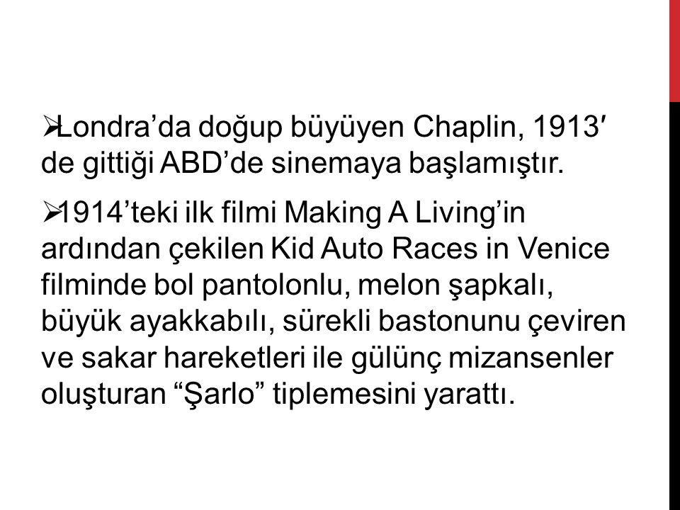  Londra'da doğup büyüyen Chaplin, 1913′ de gittiği ABD'de sinemaya başlamıştır.  1914'teki ilk filmi Making A Living'in ardından çekilen Kid Auto Ra