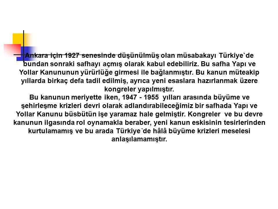 Ankara için 1927 senesinde düşünülmüş olan müsabakayı Türkiye`de bundan sonraki safhayı açmış olarak kabul edebiliriz. Bu safha Yapı ve Yollar Kanunun