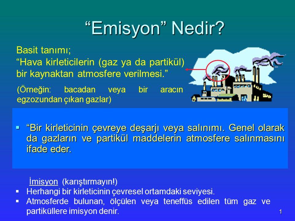 """1 """"Emisyon"""" Nedir? """"Emisyon"""" Nedir?  """"Bir kirleticinin çevreye deşarjı veya salınımı. Genel olarak da gazların ve partikül maddelerin atmosfere salın"""