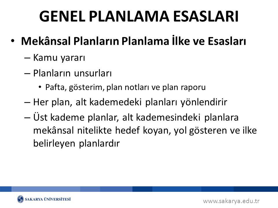 www.sakarya.edu.tr Mekânsal Planların Planlama İlke ve Esasları – Kamu yararı – Planların unsurları Pafta, gösterim, plan notları ve plan raporu – Her