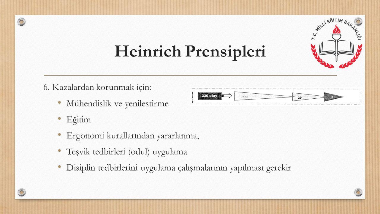 Heinrich Prensipleri 6. Kazalardan korunmak için: Mühendislik ve yenilestirme Eğitim Ergonomi kurallarından yararlanma, Teşvik tedbirleri (odul) uygul