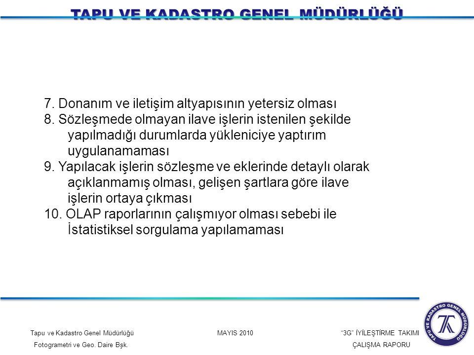 """Tapu ve Kadastro Genel Müdürlüğü MAYIS 2010 """"3G"""" İYİLEŞTİRME TAKIMI Fotogrametri ve Geo. Daire Bşk. ÇALIŞMA RAPORU 7. Donanım ve iletişim altyapısının"""