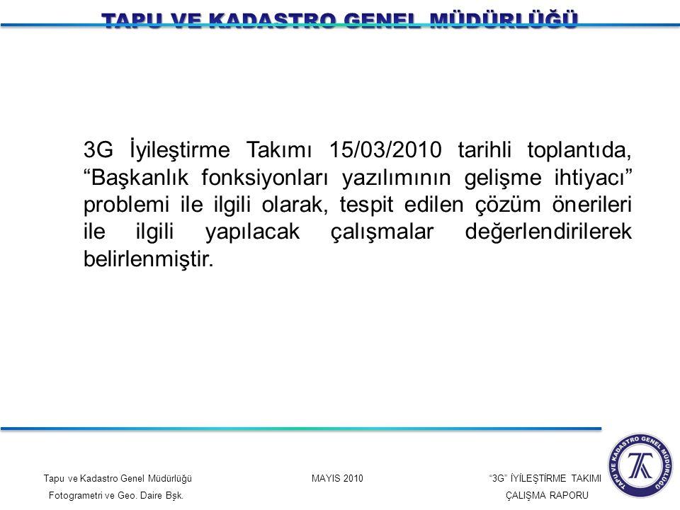 """Tapu ve Kadastro Genel Müdürlüğü MAYIS 2010 """"3G"""" İYİLEŞTİRME TAKIMI Fotogrametri ve Geo. Daire Bşk. ÇALIŞMA RAPORU 3G İyileştirme Takımı 15/03/2010 ta"""
