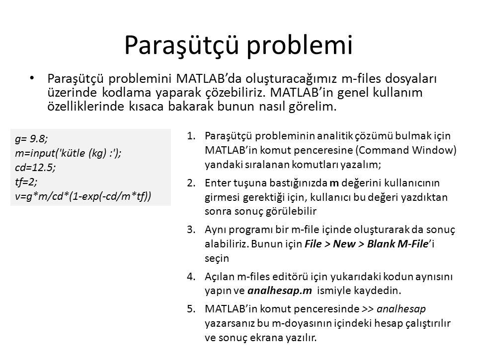 Paraşütçü problemi Paraşütçü problemini MATLAB'da oluşturacağımız m-files dosyaları üzerinde kodlama yaparak çözebiliriz.