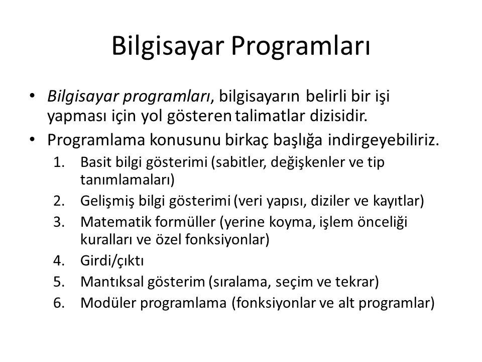 Bilgisayar Programları Bilgisayar programları, bilgisayarın belirli bir işi yapması için yol gösteren talimatlar dizisidir.