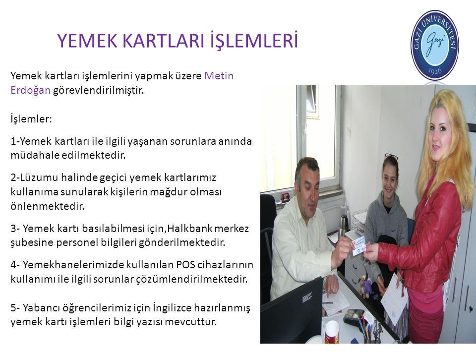 YEMEK KARTLARI İŞLEMLERİ Yemek kartları işlemlerini yapmak üzere Metin Erdoğan görevlendirilmiştir. İşlemler: 1-Yemek kartları ile ilgili yaşanan soru