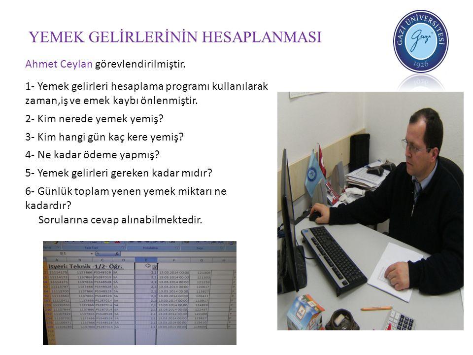 YEMEK GELİRLERİNİN HESAPLANMASI Ahmet Ceylan görevlendirilmiştir. 1- Yemek gelirleri hesaplama programı kullanılarak zaman,iş ve emek kaybı önlenmişti