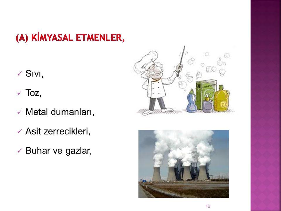 Sıvı, Toz, Metal dumanları, Asit zerrecikleri, Buhar ve gazlar, 10
