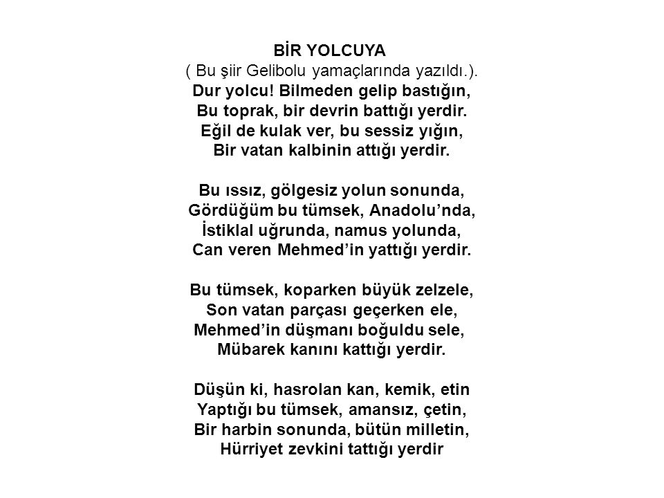 BİR YOLCUYA ( Bu şiir Gelibolu yamaçlarında yazıldı.).