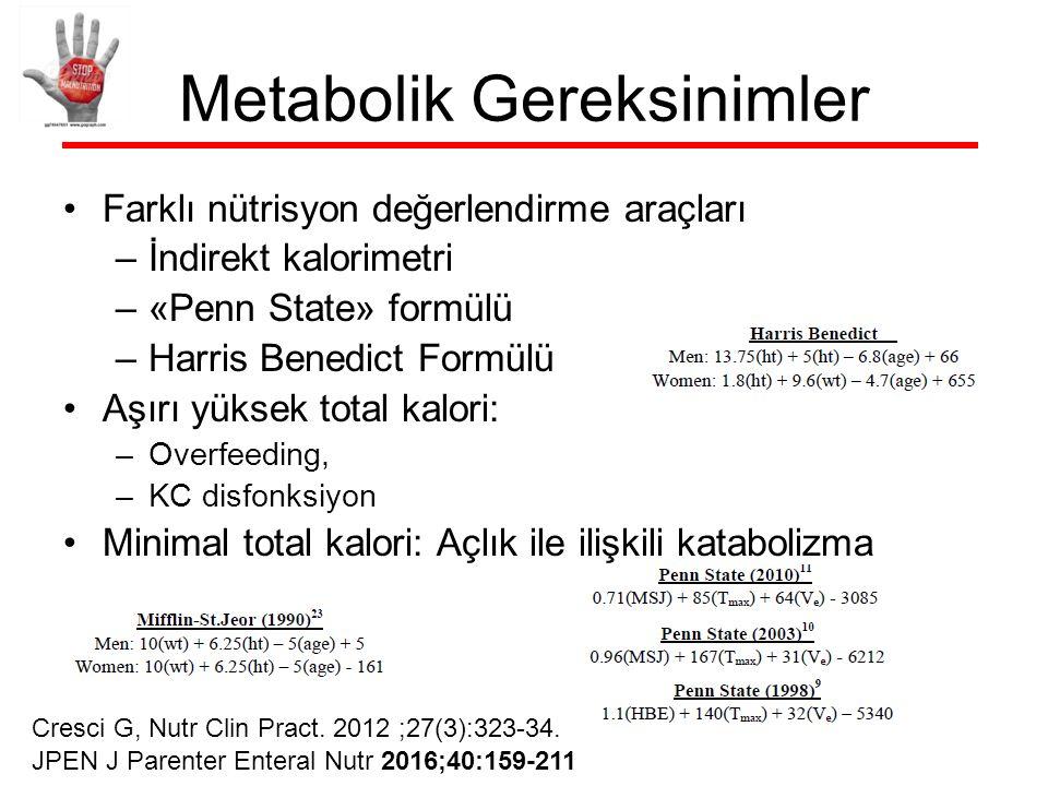 Metabolik Gereksinimler Farklı nütrisyon değerlendirme araçları –İndirekt kalorimetri –«Penn State» formülü –Harris Benedict Formülü Aşırı yüksek total kalori: –Overfeeding, –KC disfonksiyon Minimal total kalori: Açlık ile ilişkili katabolizma Cresci G, Nutr Clin Pract.