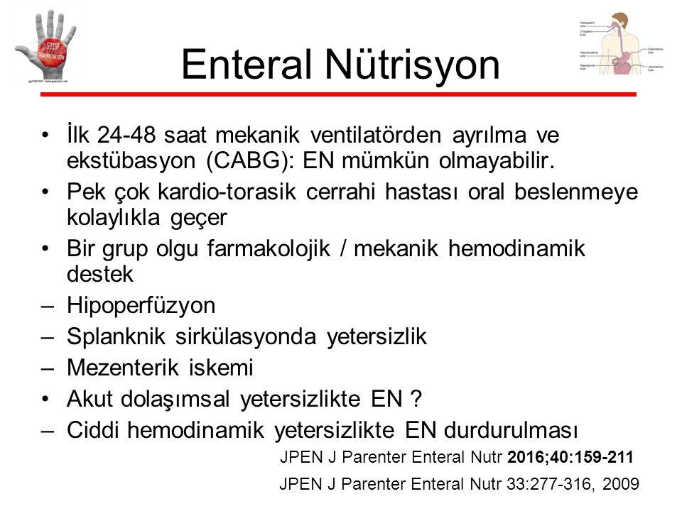 Enteral Nütrisyon İlk 24-48 saat mekanik ventilatörden ayrılma ve ekstübasyon (CABG): EN mümkün olmayabilir.