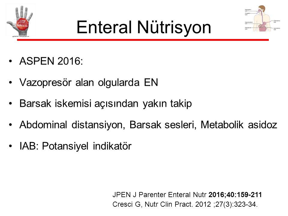 Enteral Nütrisyon ASPEN 2016: Vazopresör alan olgularda EN Barsak iskemisi açısından yakın takip Abdominal distansiyon, Barsak sesleri, Metabolik asidoz IAB: Potansiyel indikatör Cresci G, Nutr Clin Pract.