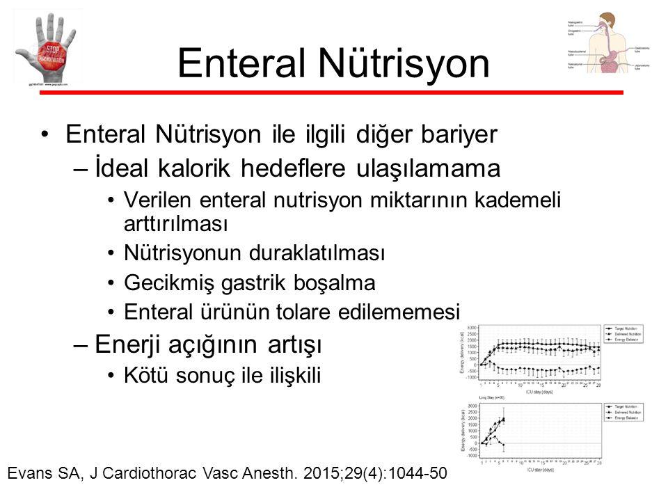 Enteral Nütrisyon Enteral Nütrisyon ile ilgili diğer bariyer –İdeal kalorik hedeflere ulaşılamama Verilen enteral nutrisyon miktarının kademeli arttırılması Nütrisyonun duraklatılması Gecikmiş gastrik boşalma Enteral ürünün tolare edilememesi –Enerji açığının artışı Kötü sonuç ile ilişkili Evans SA, J Cardiothorac Vasc Anesth.