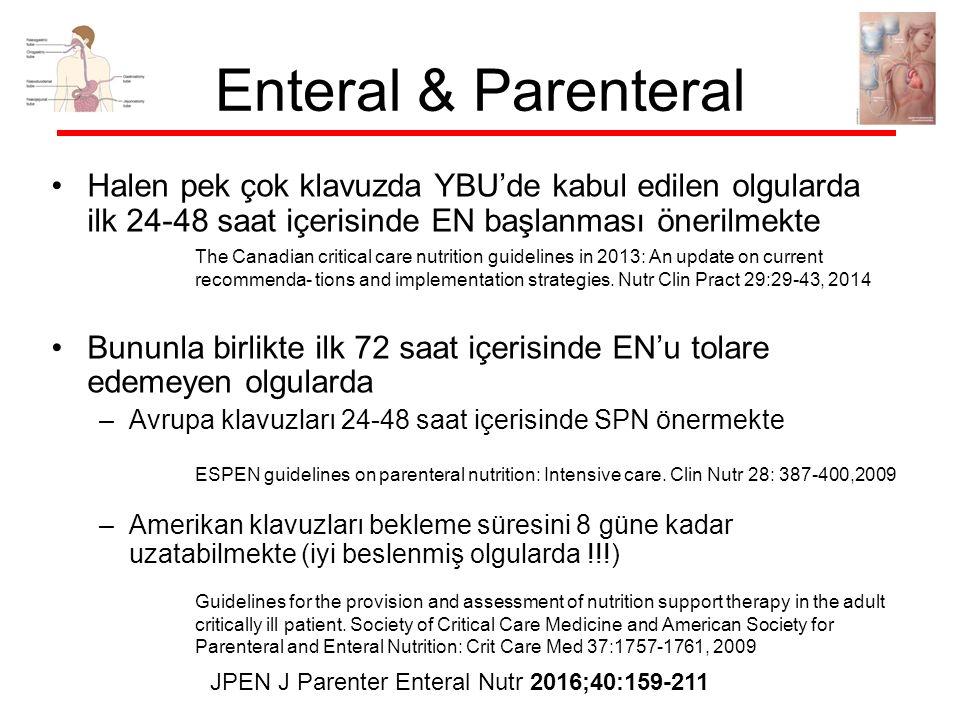 Enteral & Parenteral Halen pek çok klavuzda YBU'de kabul edilen olgularda ilk 24-48 saat içerisinde EN başlanması önerilmekte Bununla birlikte ilk 72 saat içerisinde EN'u tolare edemeyen olgularda –Avrupa klavuzları 24-48 saat içerisinde SPN önermekte –Amerikan klavuzları bekleme süresini 8 güne kadar uzatabilmekte (iyi beslenmiş olgularda !!!) The Canadian critical care nutrition guidelines in 2013: An update on current recommenda- tions and implementation strategies.