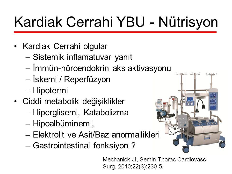Kardiak Cerrahi olgular –Sistemik inflamatuvar yanıt –İmmün-nöroendokrin aks aktivasyonu –İskemi / Reperfüzyon –Hipotermi Ciddi metabolik değişiklikler –Hiperglisemi, Katabolizma –Hipoalbüminemi, –Elektrolit ve Asit/Baz anormallikleri –Gastrointestinal fonksiyon .