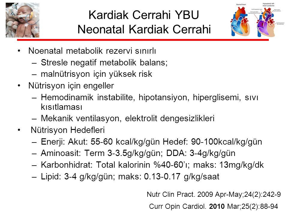 Kardiak Cerrahi YBU Neonatal Kardiak Cerrahi Noenatal metabolik rezervi sınırlı –Stresle negatif metabolik balans; –malnütrisyon için yüksek risk Nütrisyon için engeller –Hemodinamik instabilite, hipotansiyon, hiperglisemi, sıvı kısıtlaması –Mekanik ventilasyon, elektrolit dengesizlikleri Nütrisyon Hedefleri –Enerji: Akut: 55-60 kcal/kg/gün Hedef: 90-100kcal/kg/gün –Aminoasit: Term 3-3.5g/kg/gün; DDA: 3-4g/kg/gün –Karbonhidrat: Total kalorinin %40-60'ı; maks: 13mg/kg/dk –Lipid: 3-4 g/kg/gün; maks: 0.13-0.17 g/kg/saat Nutr Clin Pract.
