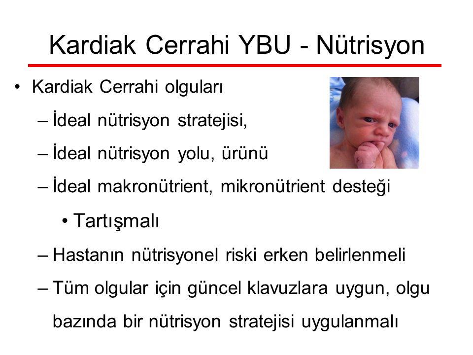Kardiak Cerrahi YBU - Nütrisyon Kardiak Cerrahi olguları –İdeal nütrisyon stratejisi, –İdeal nütrisyon yolu, ürünü –İdeal makronütrient, mikronütrient desteği Tartışmalı –Hastanın nütrisyonel riski erken belirlenmeli –Tüm olgular için güncel klavuzlara uygun, olgu bazında bir nütrisyon stratejisi uygulanmalı