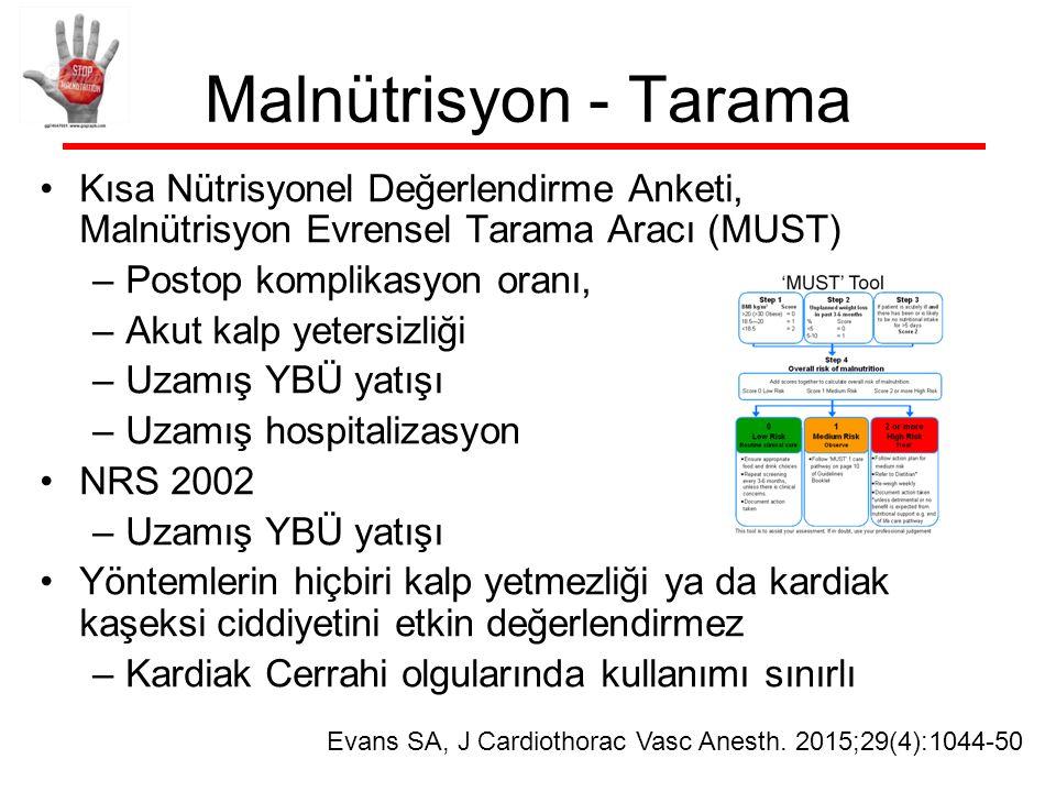 Malnütrisyon - Tarama ASPEN 2016 –Tarama: NUTRİC skor; NRS 2002 JPEN J Parenter Enteral Nutr 2016;40:159-211 Albumin; prealbumin, transferrin postoperatif olgularda önerilmemekte
