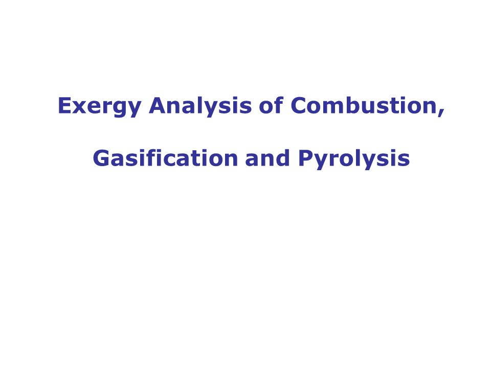 Exergy Analysis of Combustion, Gasification and Pyrolysis