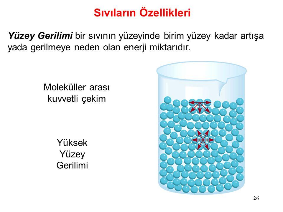 26 Sıvıların Özellikleri Yüzey Gerilimi bir sıvının yüzeyinde birim yüzey kadar artışa yada gerilmeye neden olan enerji miktarıdır.