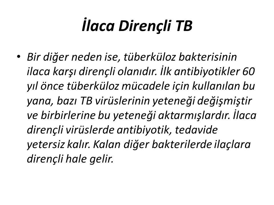 İlaca Dirençli TB Bir diğer neden ise, tüberküloz bakterisinin ilaca karşı dirençli olanıdır. İlk antibiyotikler 60 yıl önce tüberküloz mücadele için