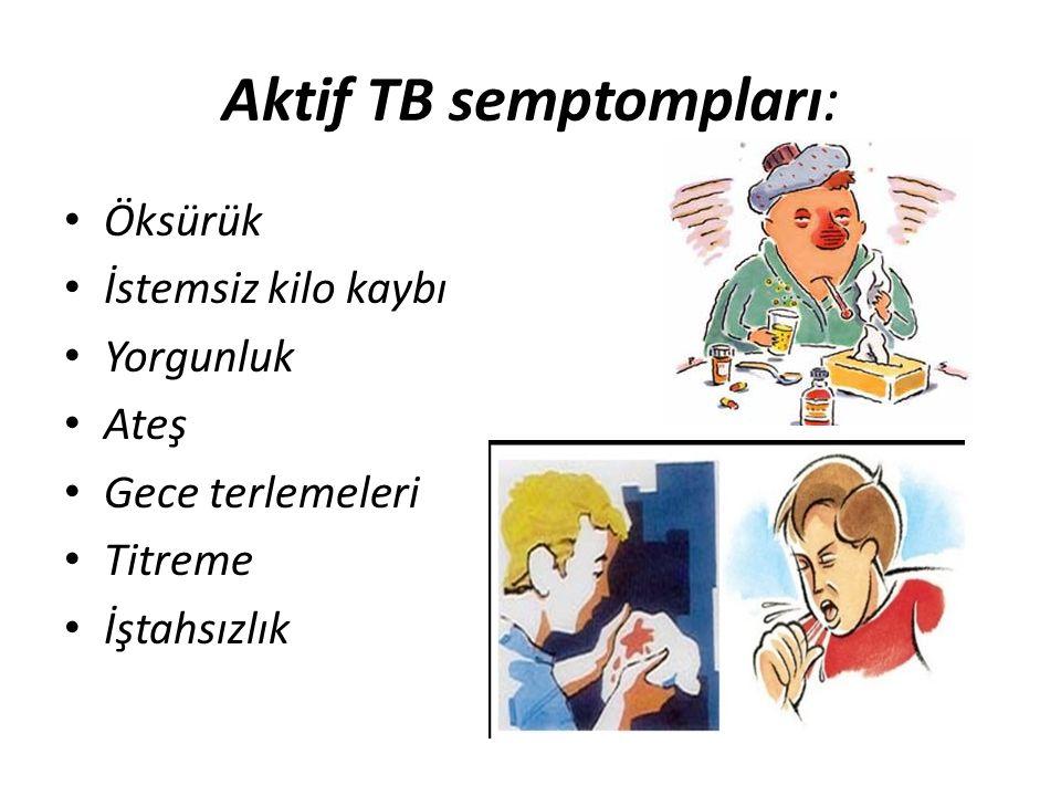 Aktif TB semptompları: Öksürük İstemsiz kilo kaybı Yorgunluk Ateş Gece terlemeleri Titreme İştahsızlık