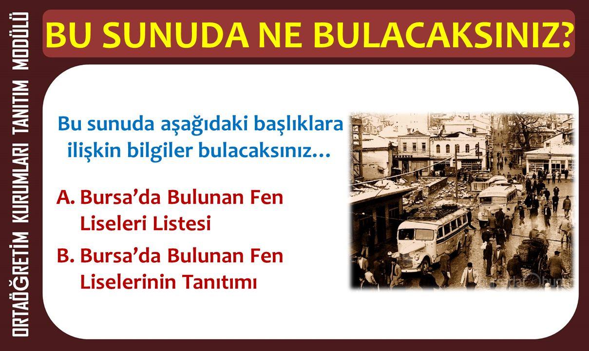 1.BÖLÜM Bursa'da Bulunan Fen Liseleri Listesi