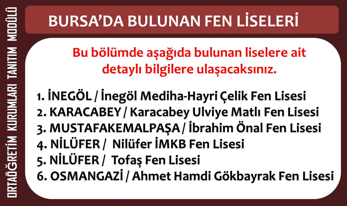 2. BÖLÜM Bursa'da Bulunan Fen Liselerinin Tanıtımı