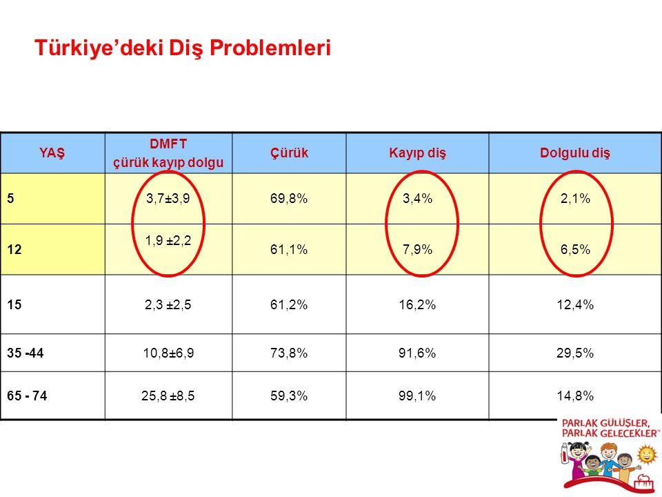 YAŞ DMFT çürük kayıp dolgu ÇürükKayıp dişDolgulu diş 53,7±3,969,8%3,4%2,1% 12 1,9 ±2,2 61,1%7,9%6,5% 152,3 ±2,561,2%16,2%12,4% 35 -4410,8±6,973,8%91,6%29,5% 65 - 7425,8 ±8,559,3%99,1%14,8% Türkiye'deki Diş Problemleri